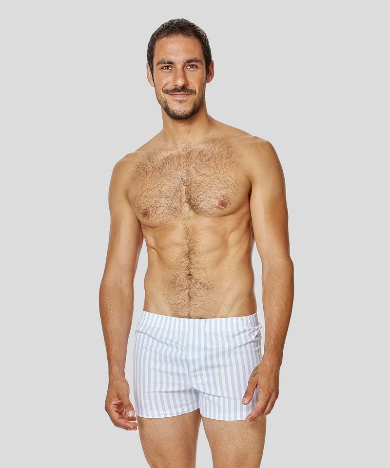 Boxer Shorts Vertical Stripes - arctic blue / white