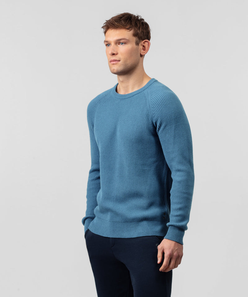 Ribbed Crew Neck Sweater - river blue