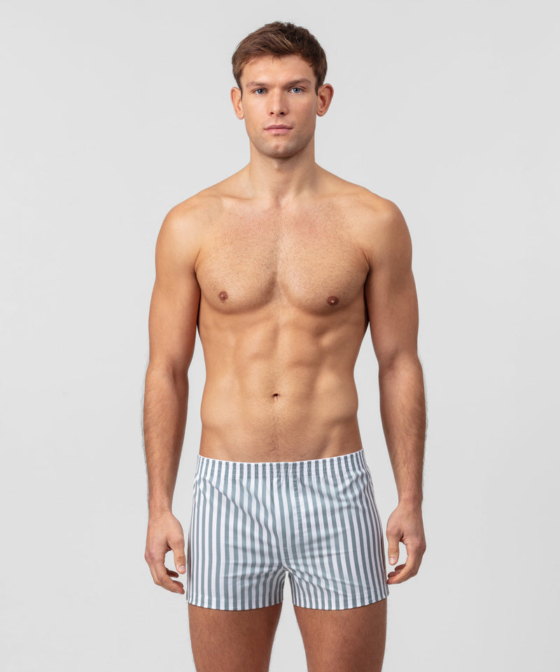 Boxer Shorts Vertical Stripes - stormy sea/white