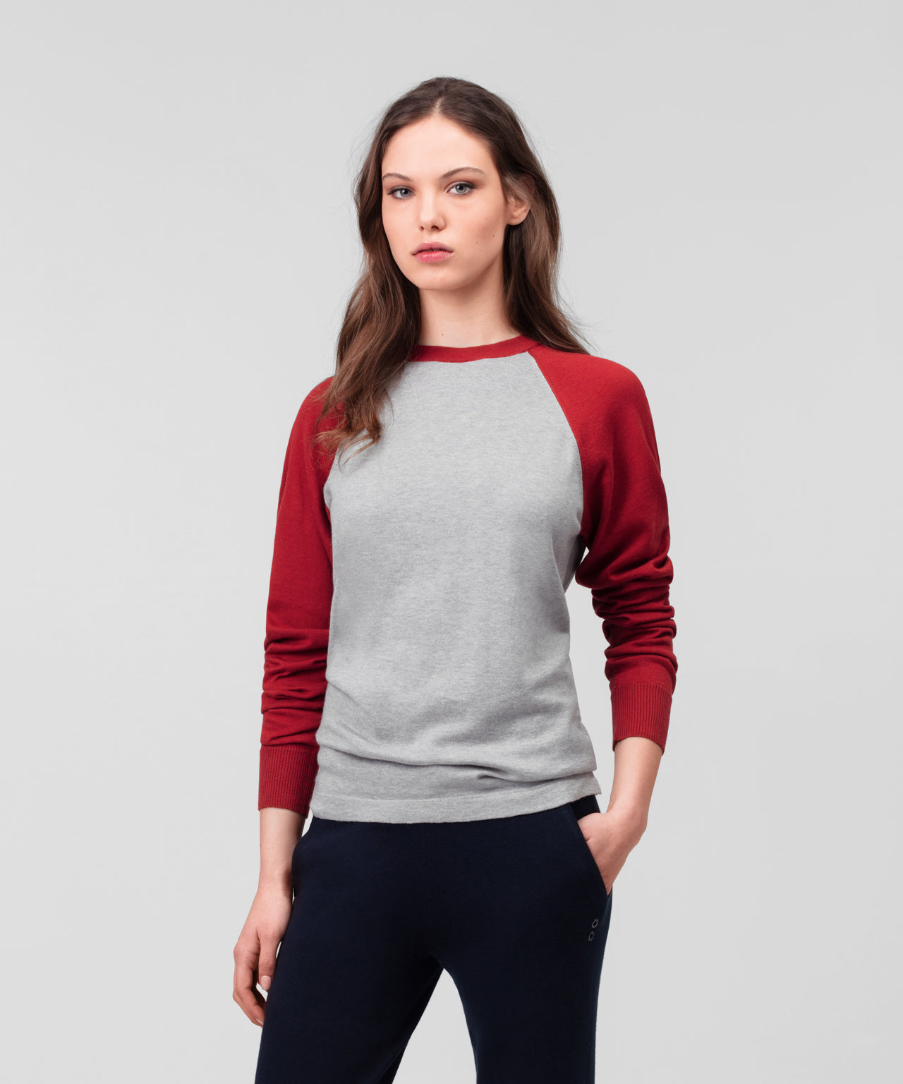Cotton Cashmere Baseball T-Shirt His For Her - red deep