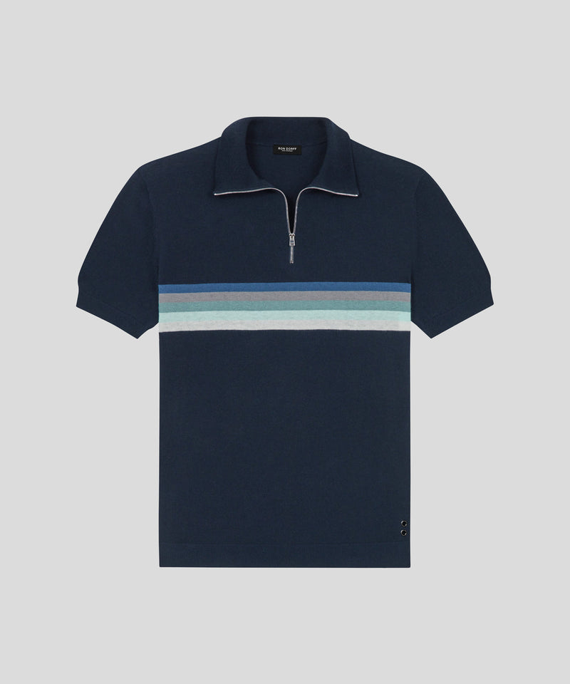 RD Polo Chest Stripes - navy/blue stripes
