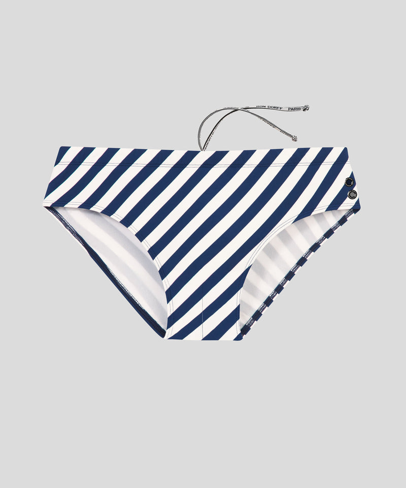 Swim Briefs Diagonal Stripes - navy/white