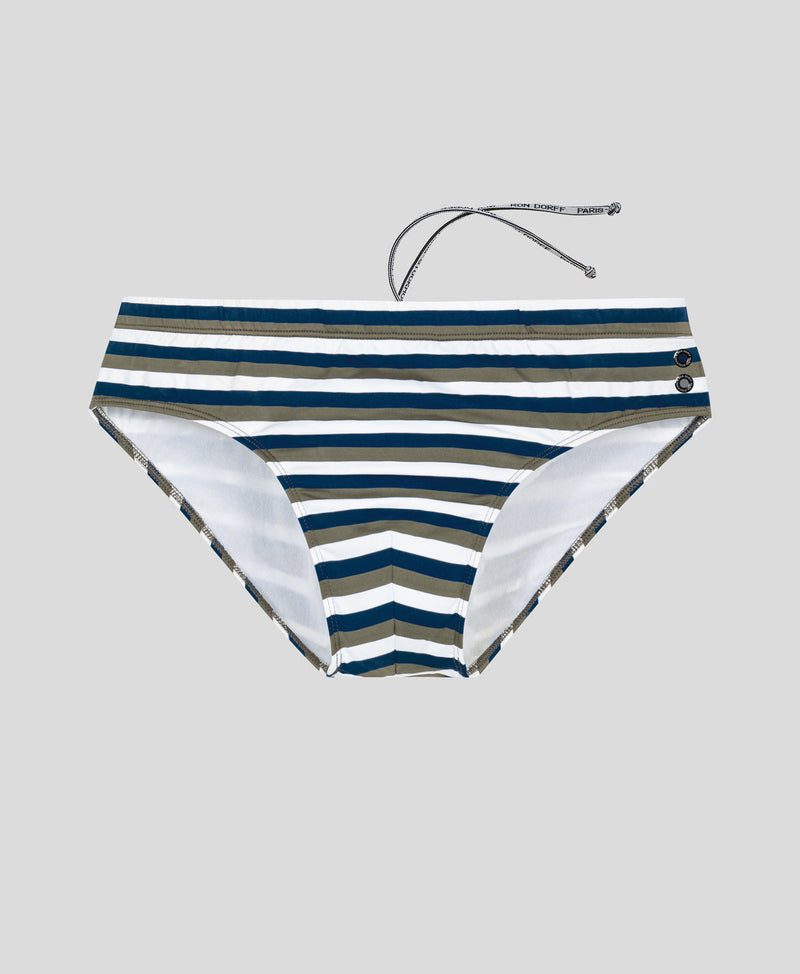Swim Briefs Horizontal Thin Stripes - navy/green camp