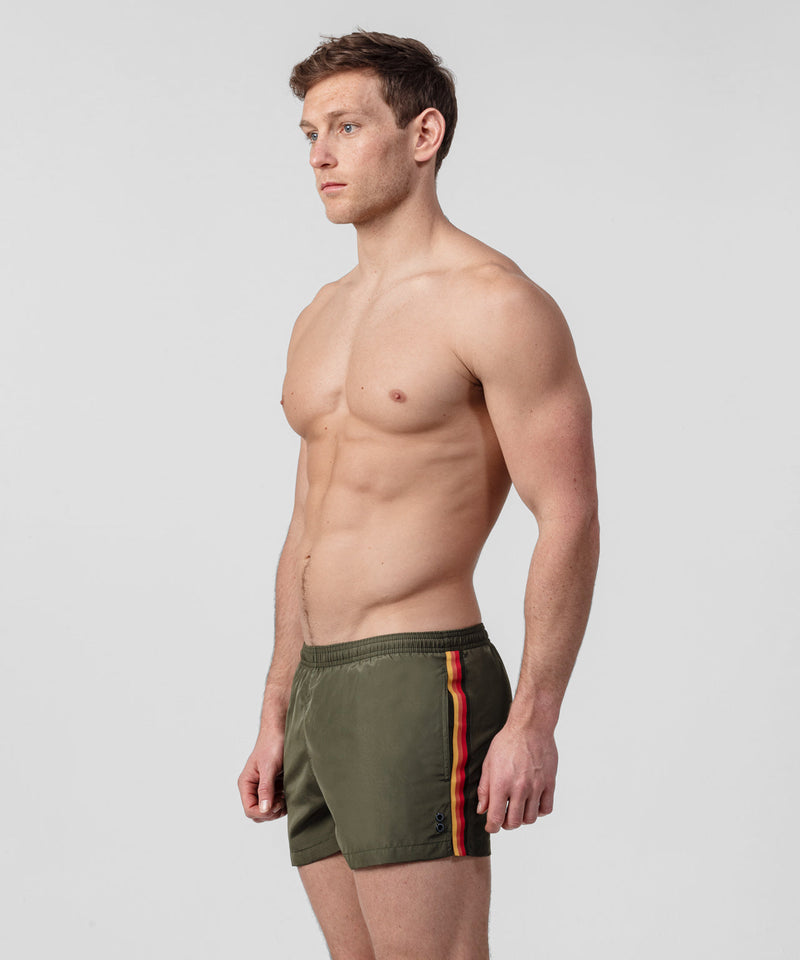 Swim Shorts Side Stripes - green camp/red