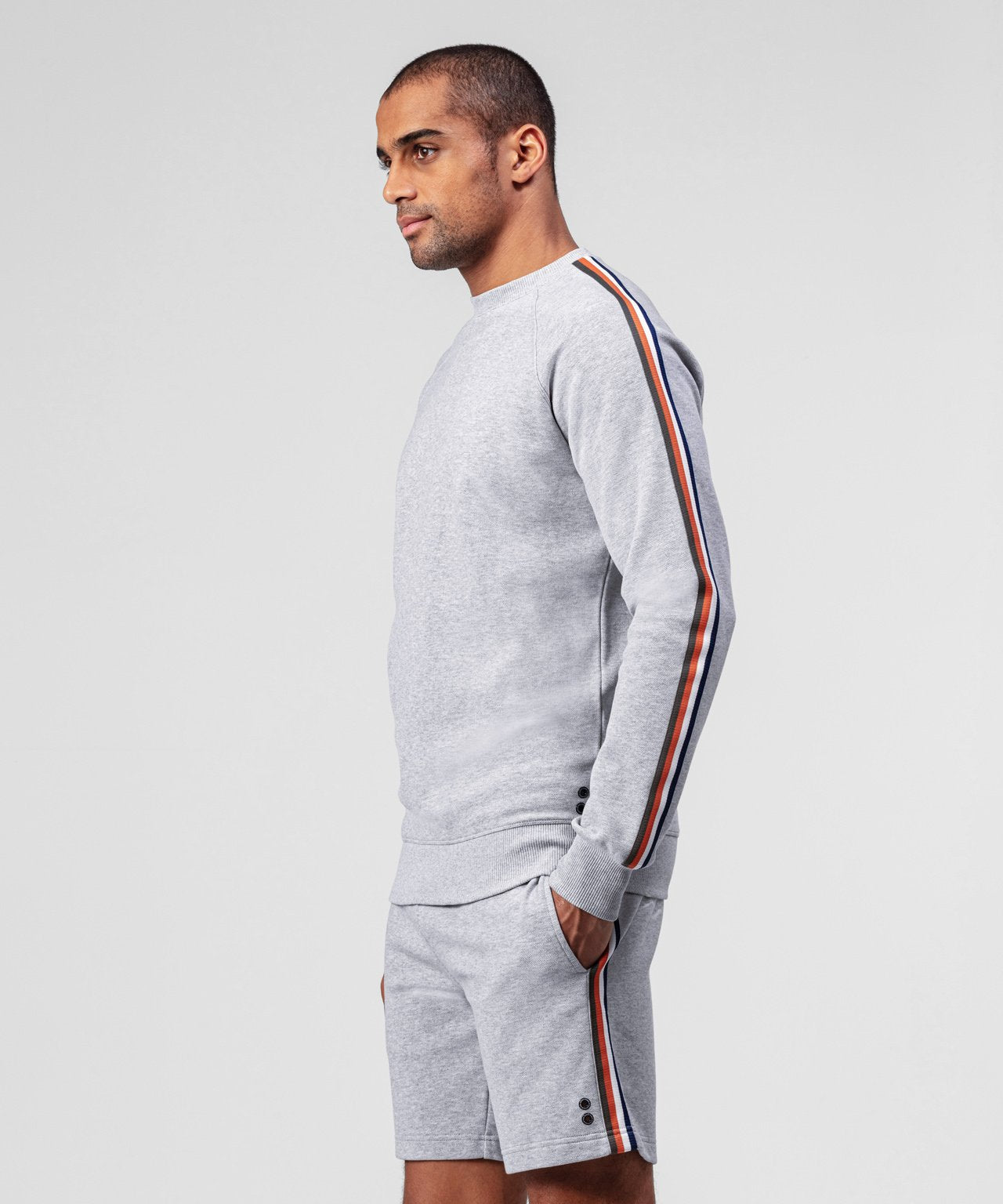 Sweatshirt Side Stripes - grey melange