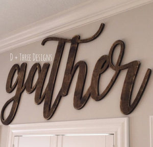 Wooden gather sign, farmhouse gather sign, farmhouse decor, gather, kitchen sign, gather home decor, wooden gather sign, kitchen gather sign