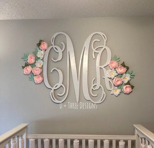 wooden monogram, nursery monogram, white wall monogram, custom monogram, baby shower gift
