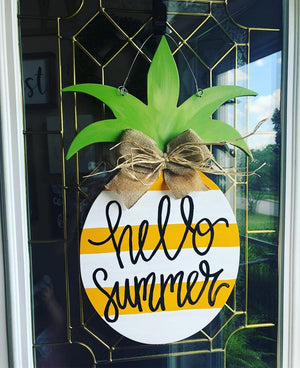 pineapple door hanger, wooden pineapple, summer door hanger, wooden pineapple decor