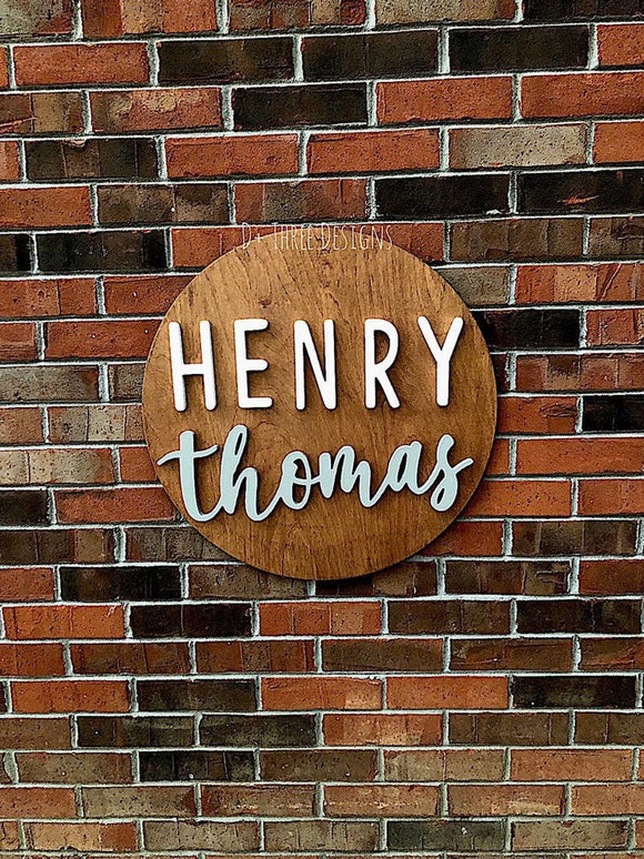 nursery name, round name, nursery decor, nursery wall sign