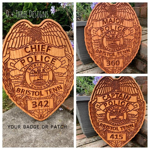 police badge, wooden police badge, police retirement gift, police plaque, wooden police gift