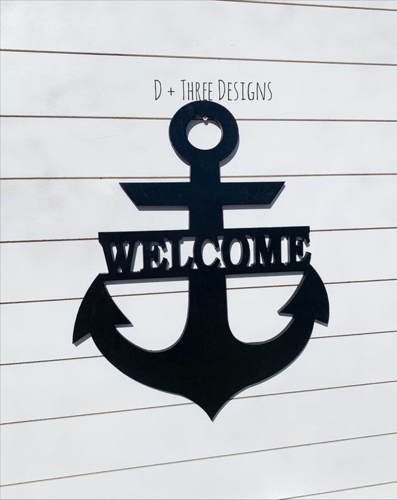 Wooden Welcome Anchor // Anchor Decor // Nautical Decor // Anchors Away // Wooden Door Hanger