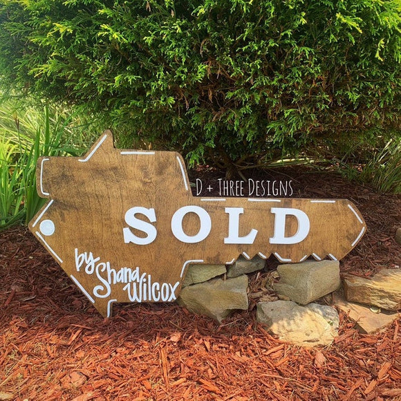 House Key Sold Sign / Realtor Prop / Sold Sign / Personalized Realtor Sign