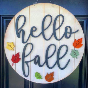 Hello Fall Colorful Shiplap Farmhouse Wooden Door Hanger Sign / Fall Wreath / Fall Door Sign