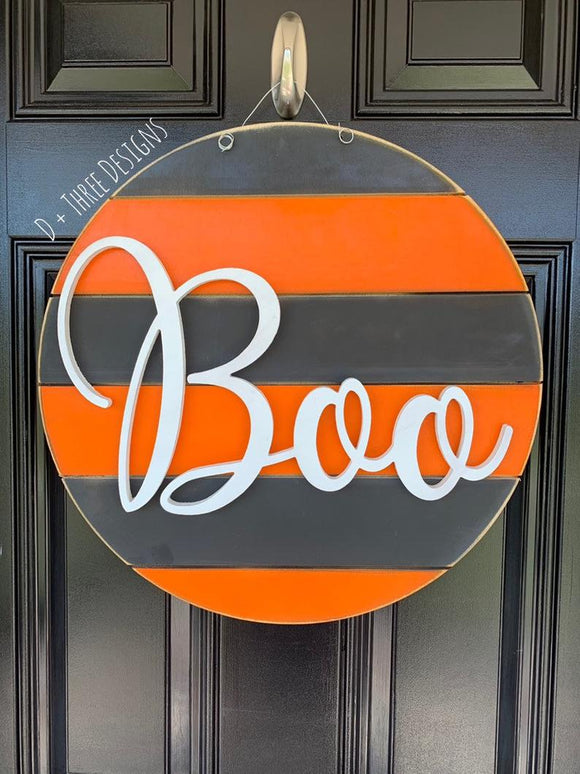 Boo Modern Farmhouse Gray & Orange Halloween Fall Wooden Door Hanger