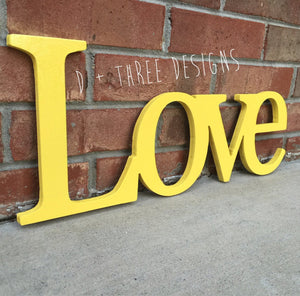 Wooden Love Decor (You Pick The Color), Wedding Sign, Shelf Decor, Wooden Letters, Wooden Shelf Sign, Home Decor,