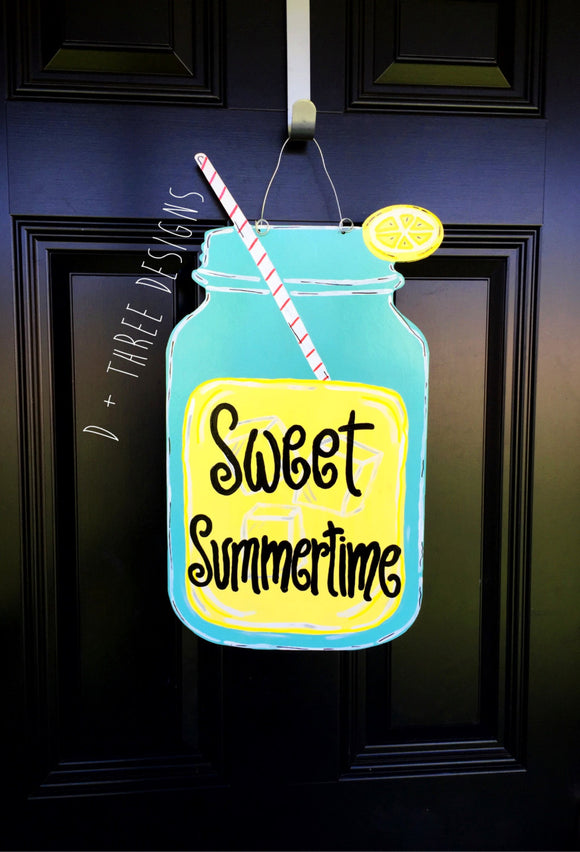 Southern Lemonade Sweet Summetime Mason Jar Wooden Door Hanger, Country Decor, Country Wreath, Rustic Door Hanger, Summer Decor