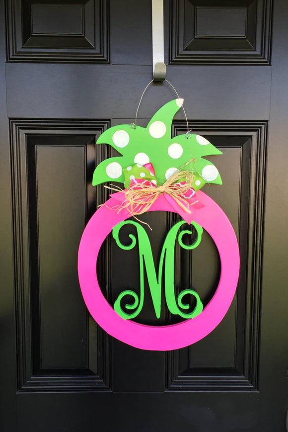 Summer Monogram Pineapple Wooden Door Hanger Personalized & Bright // Colorful Summer Wreath // Monogram // Summer Decor