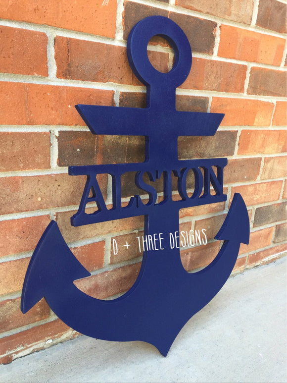 20 Inch Painted Wooden Anchor + Personalized Name and Color // Anchor Decor // Nautical Decor // Anchors Away // Wooden Door Hanger