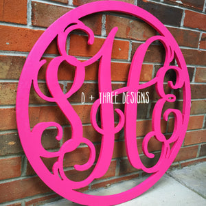 24 Inch Painted (You Pick The Colors) Wooden Monogram with Circle Border, Wooden Letters, Wooden Monogram Home Decor,