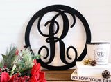 24 Inch Wooden Single Letter with Circle Border, Wooden Letters, Wooden Monogram Home Decor,
