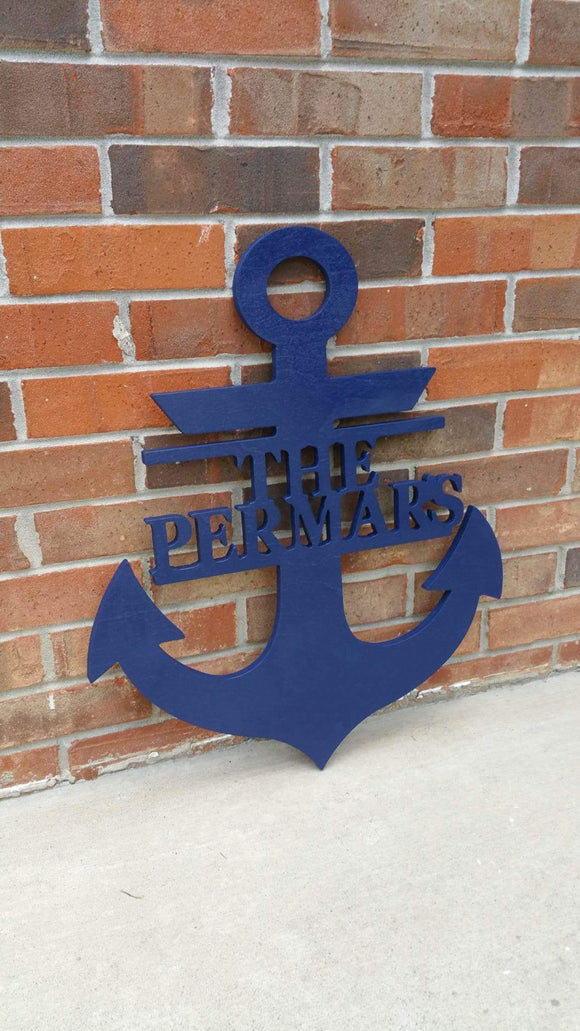 24 Inch Painted Wooden Anchor + Monogram Personalized Name and Color // Anchor Decor // Nautical Decor // Anchors Away // Wooden Door Hanger