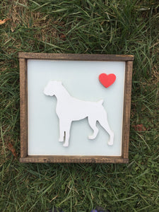 Personalized Boxer Dog Hand Painted (You Pick Heart Color)12 X 12 and Framed 3D Animal Art -- You Pick the Animal, Color, Breed