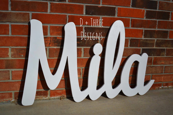 Large Painted Your Color Distressed Connected Wood Wall Name/Nursery Decor/Wooden Initials/Name Plaque/Wedding Name/Name Decor
