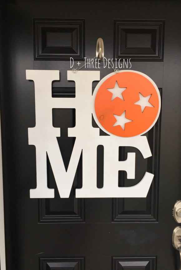 TN Home Orange & White Home Tennessee Vols Football Wooden Door Hanger // Go Big Orange Door Decor // University of Tennessee Wreath