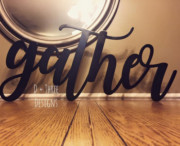 Large Gather Sign (You Pick The Color), Rustic Farmhouse Chic, Wooden Letters, Home Decor, Wooden Phrase, Shelf Sign