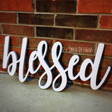 Blessed Sign (You Pick The Color), Rustic Farmhouse Chic, Wooden Letters, Home Decor, Wooden Phrase, Shelf Sign