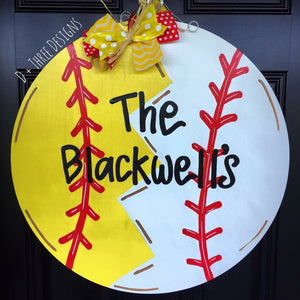 Softball Baseball Door Hanger, Baseball Decor, Baseball Wreath, Sports Wreath, Sports Decor, Summer Door Hanger, Wooden Door Hanger,