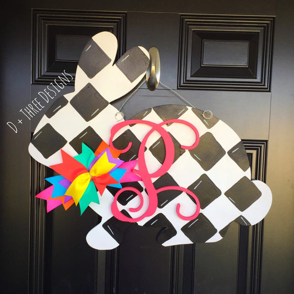 Black & White Check Monogram Bunny Door Hanger, Easter Bunny, Easter Monogram, Wooden Bunnies, Wooden Rabbits, Easter Decor, Wooden Monogram