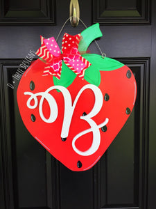 Summertime Strawberry Wooden Door Hanger, Slice of Summer Wreath, Monogram Door Hanger Summer Door Hanger, Wooden Door Hanger,