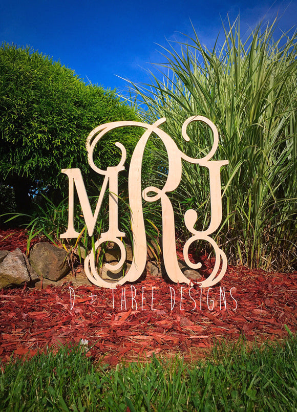 26 Inch Wooden Monogram, Letters, Home Decor, Weddings, Nursery Letters, Ready to be painted!