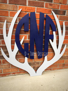 "36"" Two Color Woodland Theme Wooden Antler Monogram, Rustic Monogram, Hunter Decor - You Pick The Stain Color or Paint Color"