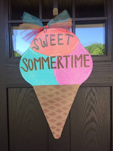 Colorful Icecream Cone Wooden Door Hanger, Summer Wreath, Ice Cream Cone Door Hanger Summer Door Hanger, Wooden Door Hanger,