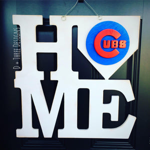 Chicago Cubs Layered Wooden Door Wall Hanger , Cub Nation Decor, World Series Cubs Sign