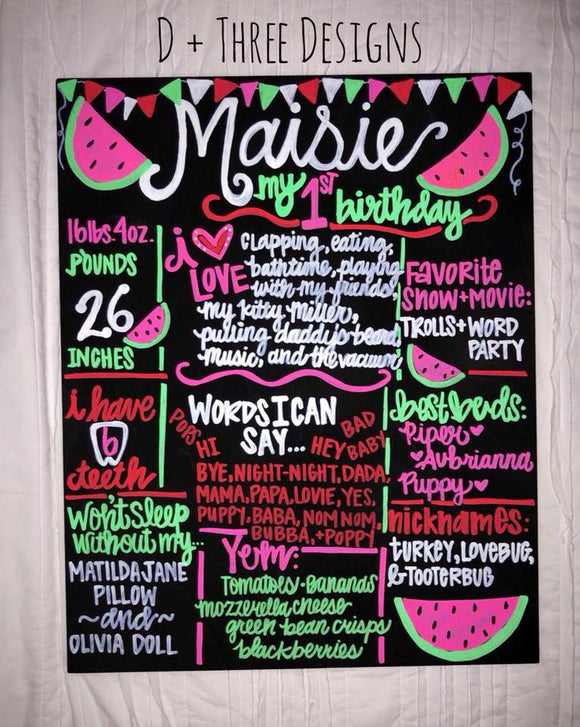 HAND-PAINTED (You Pick Theme) Birthday Chalkboard Sign, Birthday Sign, Birthday Board, Wedding Sign, Photo Shoot Prop (16x20