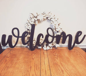 X-Large DISTRESSED Welcome Sign (Choose Stain or Paint Color), Rustic Farmhouse Chic, Wooden Letters, Home Decor, Wooden Phrase, Shelf Sign