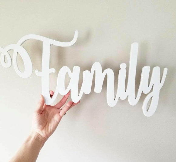 Family Sign (You Pick The Color), Rustic Farmhouse Chic, Wooden Letters, Home Decor, Wooden Phrase, Shelf Sign