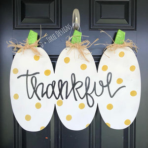 Fall Pumpkin Door Hanger // Fall Wreath // Painted Wooden Fall Wreath // Wooden Door Hanger // You Pick The Words