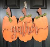 Gather Farmhouse Pumpkin Door Hanger // Fall Wreath // Painted Wooden Fall Wreath // Wooden Door Hanger