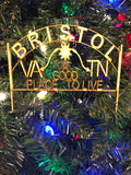 Bristol Tennessee Virginia Wooden Ornament