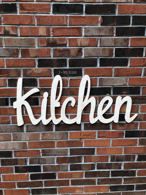 Large Unfinished Wooden Kitchen Sign/Decor/Wooden Initials/Housewarming Gift/Name Plaque/Wedding Name/Name Decor