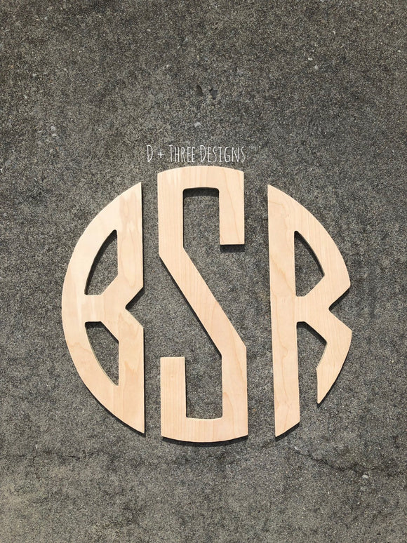 24 Inch Wooden Circle Monogram, Wooden Letters, Monogram, Home Decor, Nursery Letters, & More