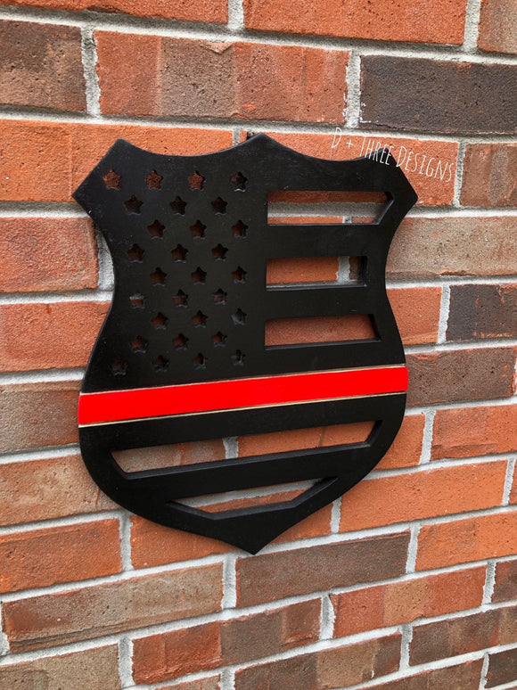 Fire Fighter Thin Red Line Wooden Badge Decor