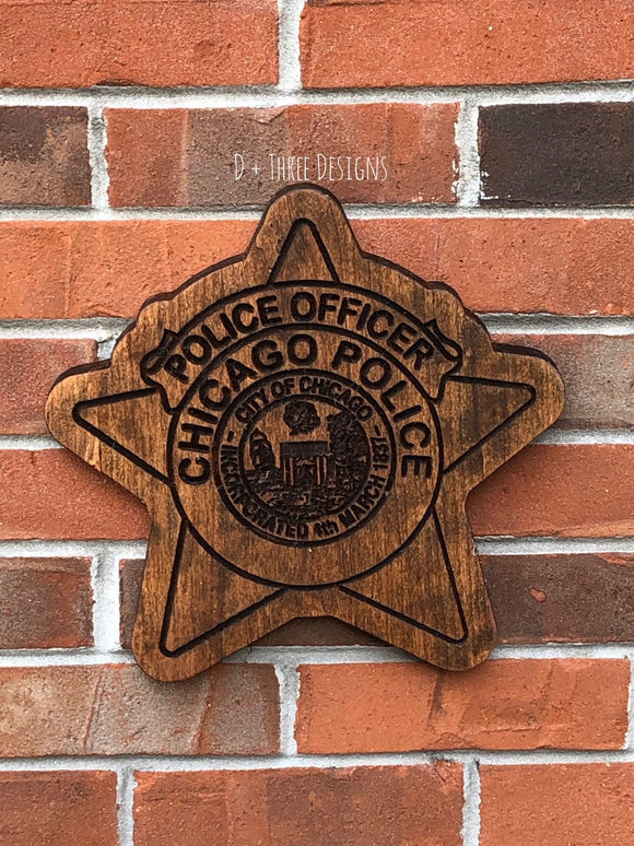 Chicago Police Badge // Police Officer Wooden Badge