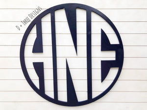"36"" Inch Painted Wooden Circle Monogram Reverse Cut Out Painted, Wooden Letters, Monogram, Home Decor, Nursery Letters, & More"