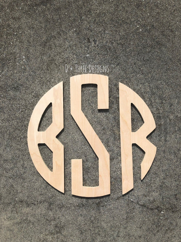 24 Inch Wooden Circle Monogram Letters Cut Out , Wooden Letters, Monogram, Home Decor, Nursery Letters, & More