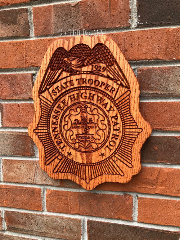 Tennessee State Trooper // Tennessee Highway Patrol // Police Officer Wooden Badge
